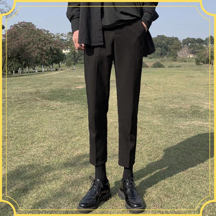 Quần baggy nam hàn quốc vải co giãn (đen, xám), chất vintage cao cấp