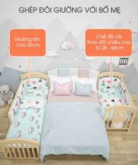 Giường cũi đa năng, cũi trẻ em, nôi cho bé bằng Gỗ thông New Zealand, có thể kéo dài thành giường, bàn học