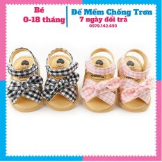 Dép tập đi cho bé Giày Tập Đi Em Bé Dép Tập Đi Quai Dán Đính Nơ Dễ Thương Cho Bé Trai và Bé Gái từ 0-18 tháng