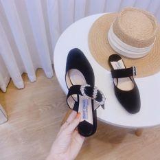Giày bệt và sục đai ngang khuy đá mũi tròn