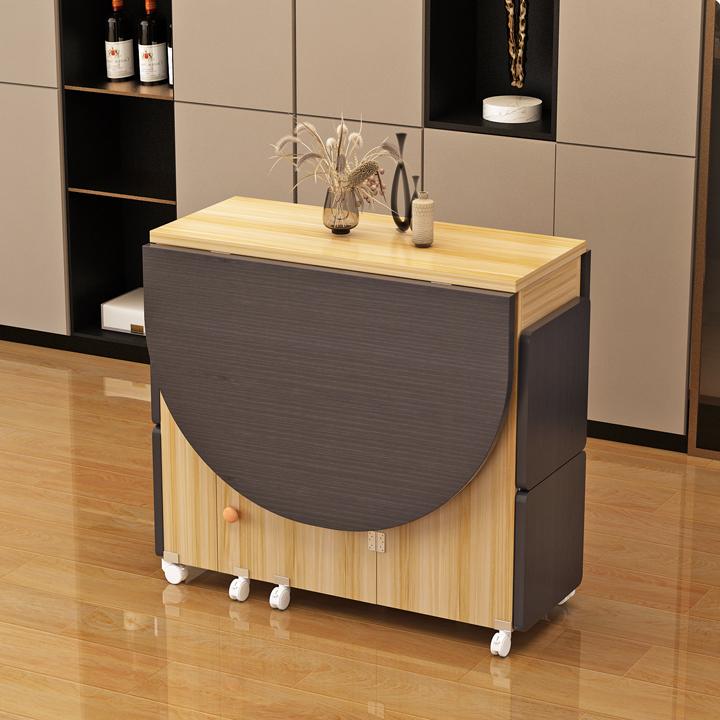[Kèm 4 Ghế] Bàn ăn thông minh, xếp gọn tiết kiệm không gian tối đa, tích hợp tủ để đồ kích thước sử dụng 120*60*77
