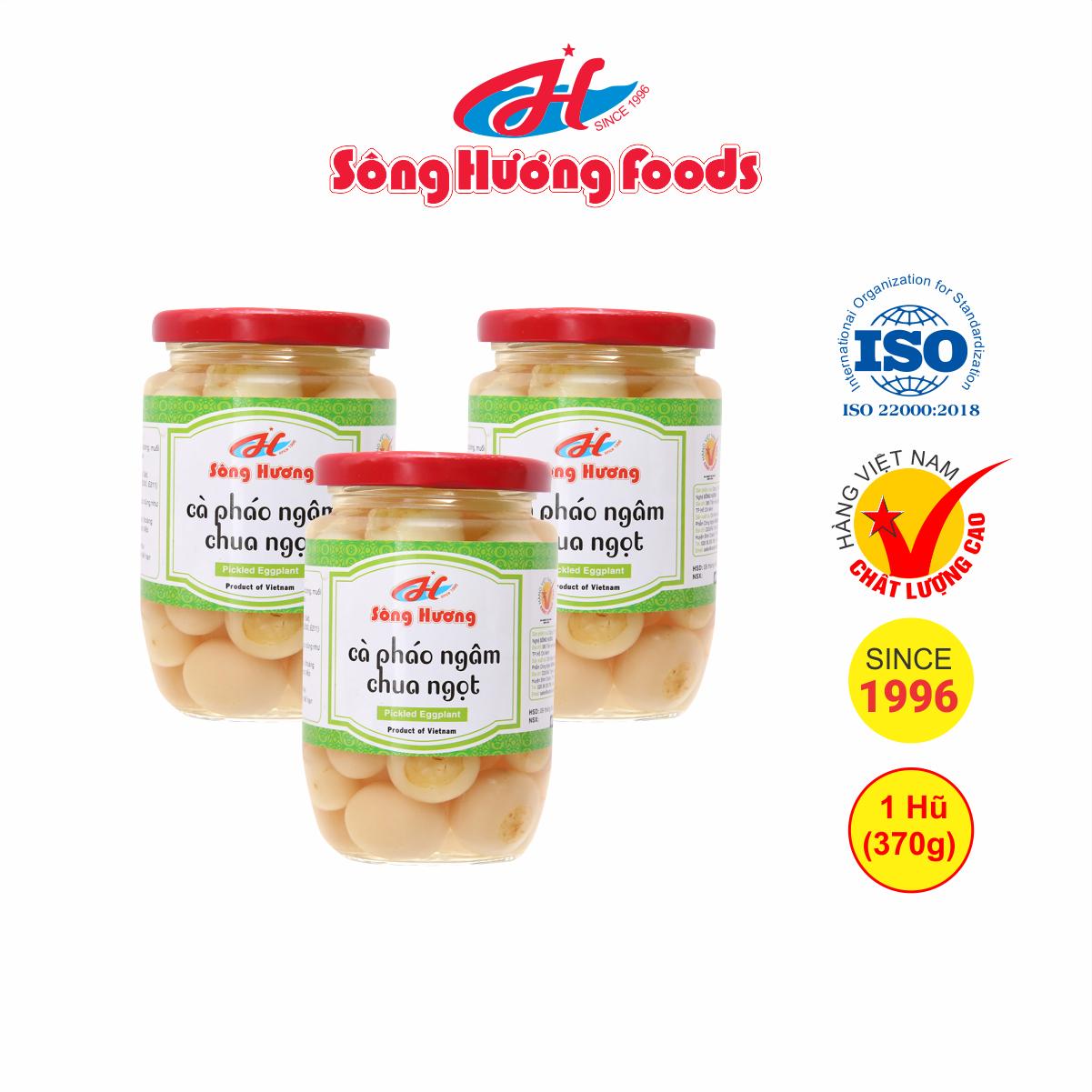 3 Hũ Cà Pháo Muối Ngâm Chua Ngọt Sông Hương Foods Hũ 370g