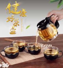 Bộ Bình Lọc Trà Thủy Tinh Kèm 4 Ly Lưới Lọc Inox 304 T.H Liac Tiện Dụng – Bình Pha Trà, Cafe Glass TeaPot Cao Cấp 700ml Tặng Kèm Ly Sang Trọng