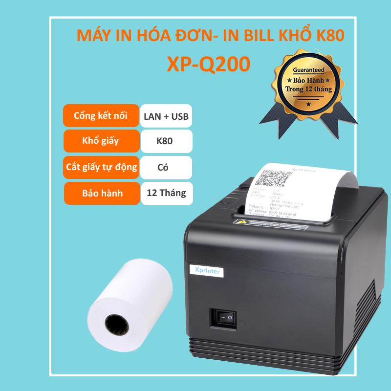 Máy In Nhiệt XPrinter XP Q200 Khổ in K80 In Hóa Đơn Tính Tiền Cho Cửa Hàng