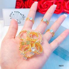Nhẫn nữ cao cấp, nhẫn kim tiền đính đá may mắn tài lộc thiết kế thời thượng Orin N691