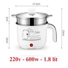 Nồi Inox chống dính 1.8L điện 600w đa năng Nấu – Chiên – Xào – Lẩu – Hấp