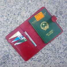 Ví passport – Da bò thật – Đồ da thủ công – Màu đỏ BV0204