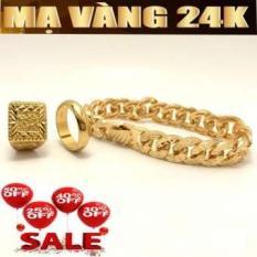 Bộ trang sức nam mạ vàng 24k gồm ( Lắc tay – Nhẫn phát lộc – Nhẫn 5 chỉ ) không phai mầu