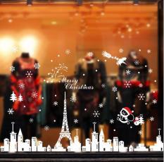 Decal dán kính trang trí Noel YJ6 Decal Giáng Sinh Decal Noel Bông Hoa Tuyết Xe Tuần Lộc Ông Già Noel Phố Đêm