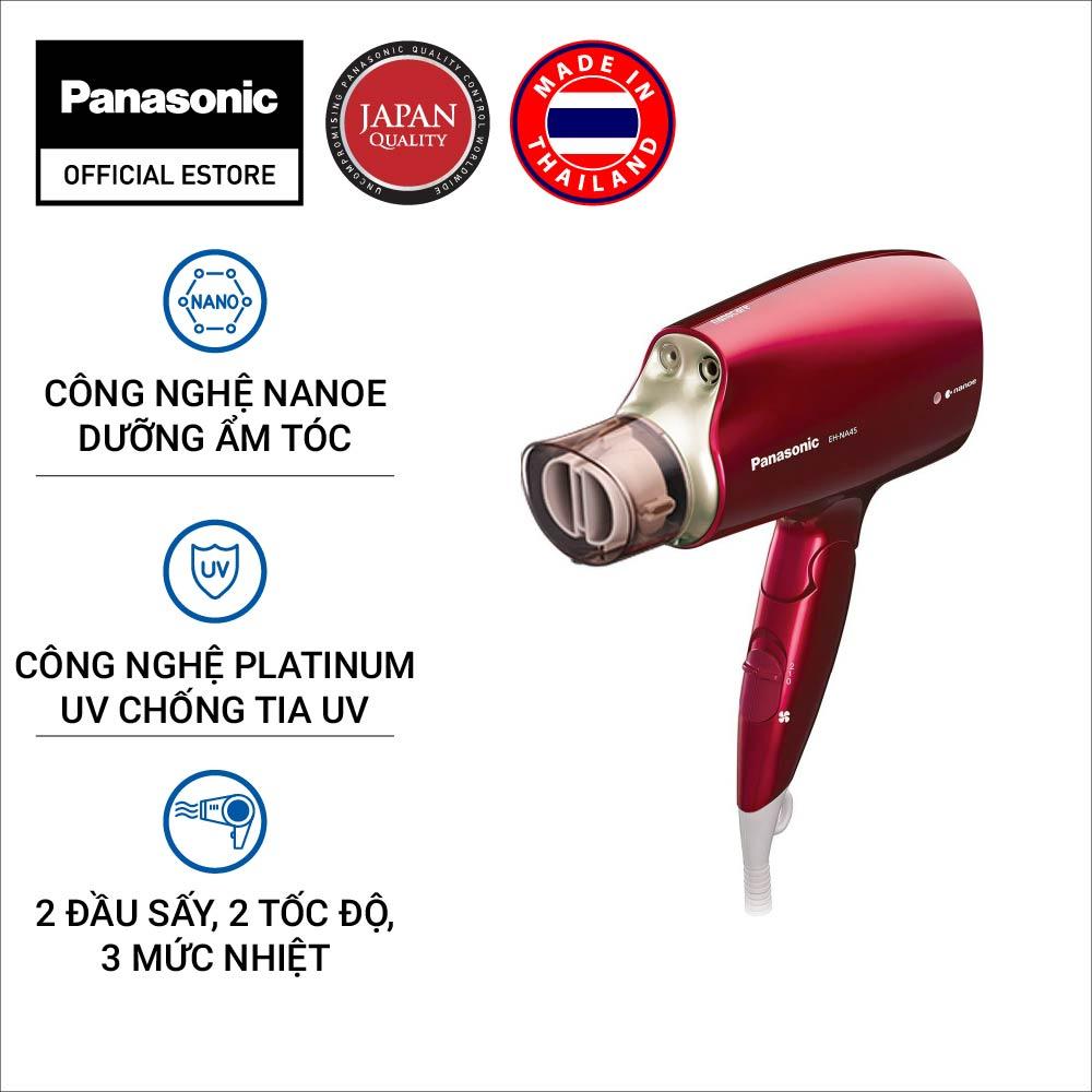 Máy sấy tóc Nanoe dưỡng ẩm, chăm sóc tóc và da đầu Panasonic EH-NA45RP645 – Công nghệ Platinum ions chống tia UV hiệu quả – Bộ 2 đầu sấy khô và tạo kiểu chuyên nghiệp – Công suất 1600W – Hàng chính hãng – Bảo hành 12 tháng