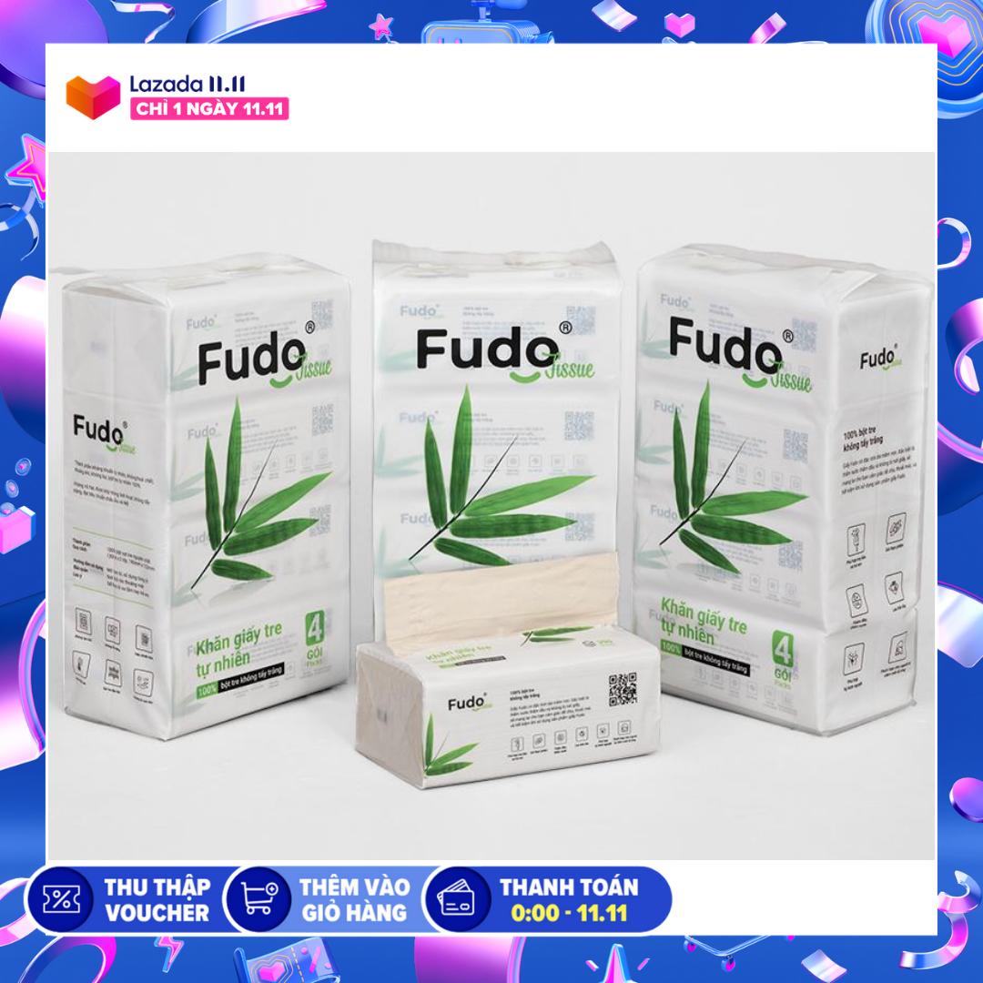 Khăn giấy tre Fudo – 12 gói giấy rút (3 Túi) – Giấy ăn Fudo: 100% bột tre, không tạo mùi, không tẩy trắng