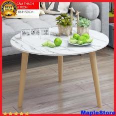 Bàn trà, Bàn tròn gỗ, màu trắng đường kính 50 cm,bàn gỗ cà phê 3 chân