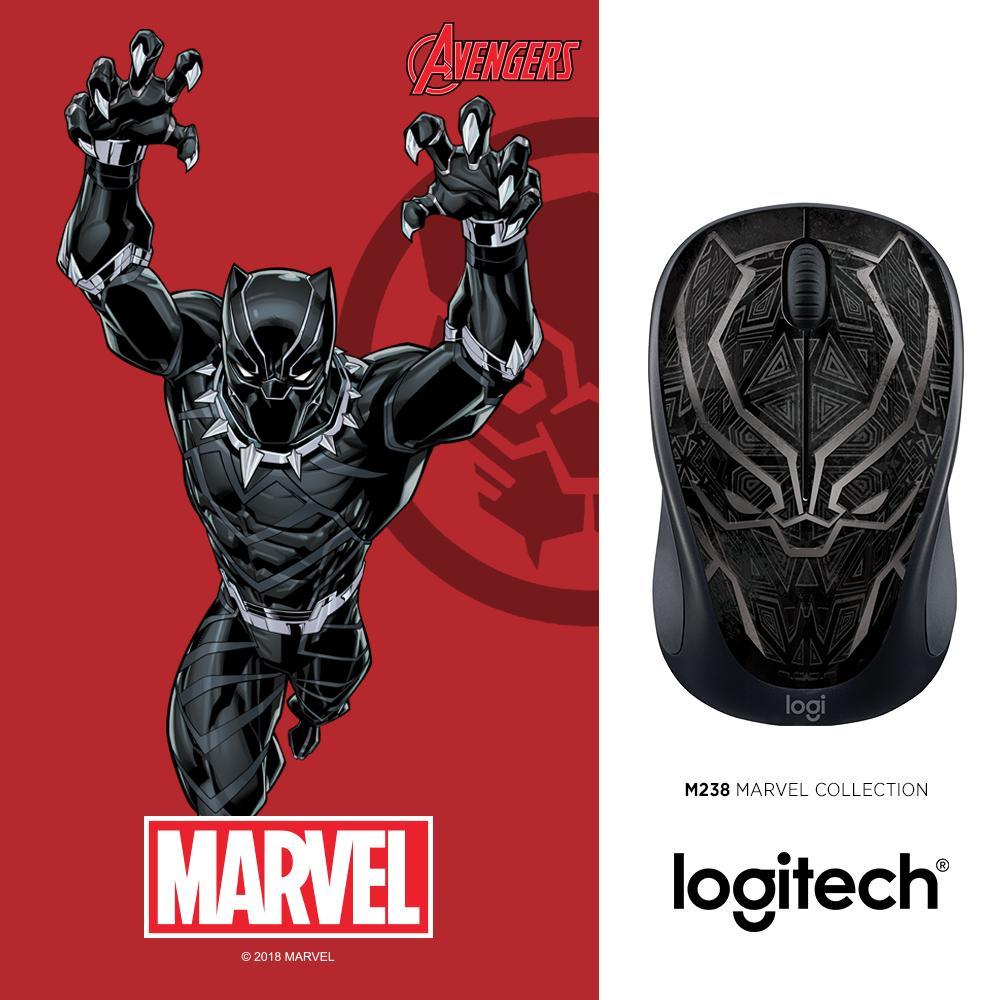Chuột không dây Logitech M238 Black Panther - Marvel Collection
