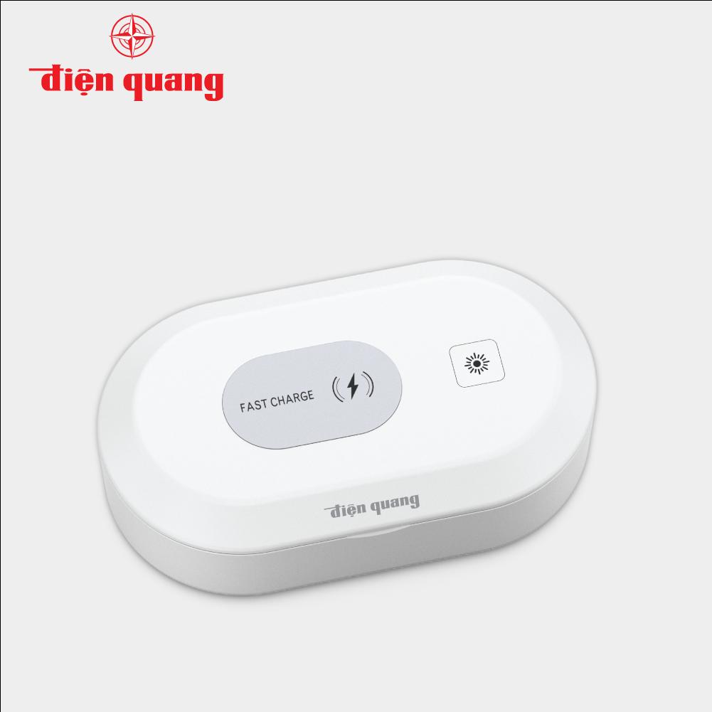 Hộp diệt khuẩn, khử trùng UVC Điện Quang tích hợp sạc không dây ĐQ BOX01 02UV 15FWC (2W UV, 15W Fast Wireless Charging)
