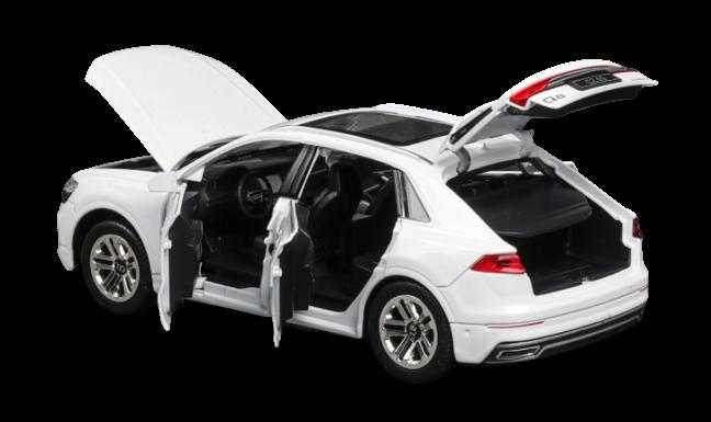 [Nhập ELJAN11 giảm 10%, tối đa 200k, đơn từ 99k]Xe mô hình Audi Q8 tỉ lệ 1:24 chất liệu hợp kim 3 màu Đen Trắng Đỏ. Mô hình xe được thiết kế tỉ mỉ từng chi tiết sơn tỉnh điện sáng bóng sang trọng