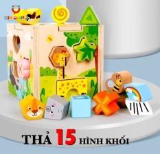 Đồ chơi trẻ em hộp thả và phân biệt 15 hình khối, màu sắc khác nhau giúp trẻ phát triển tư duy logic dành cho bé từ 1 đến 4 tuổi