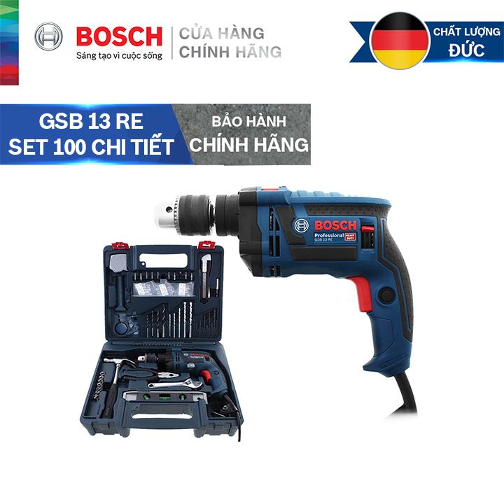 Bộ máy khoan động lực cầm tay Bosch GSB 13 RE + kèm bộ phụ kiện 100 chi tiết
