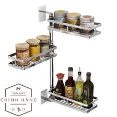 Kệ nhà bếp đa năng 3 tầng INOX 304 Kệ gia vị xoay 180 độ Dễ dàng lắp đặt – không cần gọi thợ