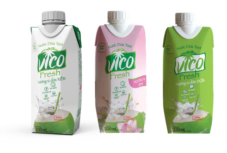 Hộp quà tặng 3 hộp nước dừa Vico fresh 330ml (Xiêm, Sen, Dứa)