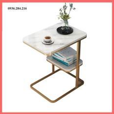 Bàn trà cafe trang trí phòng khách mặt vuông- Bàn trà châu Âu mẫu vuông 2 tầng – Mặt gỗ, chân sắt