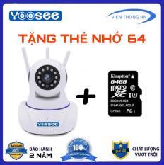 Camera Yoosee Wifi IP xoay 360 độ 3 râu Full HD 720p lưu trữ 64 GB, đàm thoại 2 chiều + Tặng thẻ 64 GB