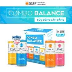 Combo 4 lon trà STAR KOMBUCHA mix vị – Balance Pack (250ml/lon) – Trà lên men vi sinh chứa probiotics giúp bảo vệ sức khoẻ, thanh lọc toàn diện, tăng đề kháng dùng cho mọi lứa tuổi, Chứng Nhận FDA tiêu chuẩn Mỹ