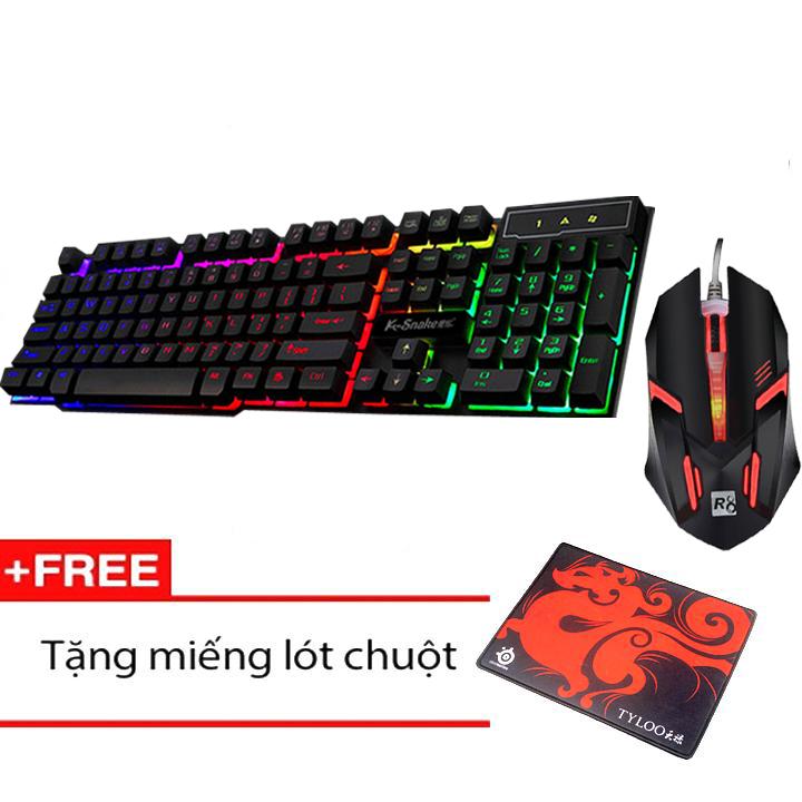 Bộ Bàn phím giả cơ chuyên game K-SNAKE K4 Led Xuyên Phím 7 Màu và Chuột R8 1602 + Tặng...