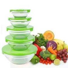 Bộ 5 Thố Thủy Tinh Nắp Nhựa Cao Cấp – Màu Ngẫu Nhiên -Bộ 5 bát thuỷ tinh đựng thực phẩm có nắp đậy cooking bowl cao cấp có nắp dùng được trong lò vi sóng, hộp đựng thực phẩm, hộp đựng cơm tiện lợi, an toàn