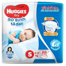 Tã dán HUGGIES DRY Size S88 Lưng thun đệm mây ( 88 miếng 4-8kg ) – HSD luôn mới
