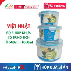 [3 hộp nhựa] Việt Nhật tròn có nắp đựng thực phẩm có 3 dung tích khác nhau từ 500ml đến 1000ml – Dùng được tủ lạnh và lò vi sóng