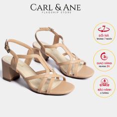 Carl & Ane – Giày sandal phối dây thời trang nữ mũi vuông gót cao 5cm CS002 (NU)