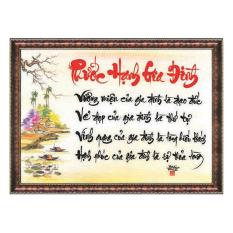 tranh thư pháp phước hạnh gia đình tặng kèm khung
