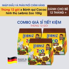 Bánh qui vị Cacao hình thú cho bé Leibniz Zoo 100g Thùng 12 gói – HSD: 25/09/2020 – Nhập khẩu và phân phối chính hãng từ Đức