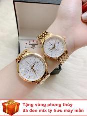 Cặp Đồng hồ đôi nam nữ BAISHUNS dây thép thời thượng có lịch ( BS3902 dây vàng mặt trắng ) – TẶNG 1 vòng tỳ hưu phong thuỷ