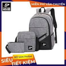 COMBO BÁN CHẠY: Balo đi học , đi làm Laptop 15,6inch + Túi đeo chéo ipad + Bóp bút vải bố xước cao cấp Fortune Mouse B001 ( ĐỆM DÀY )
