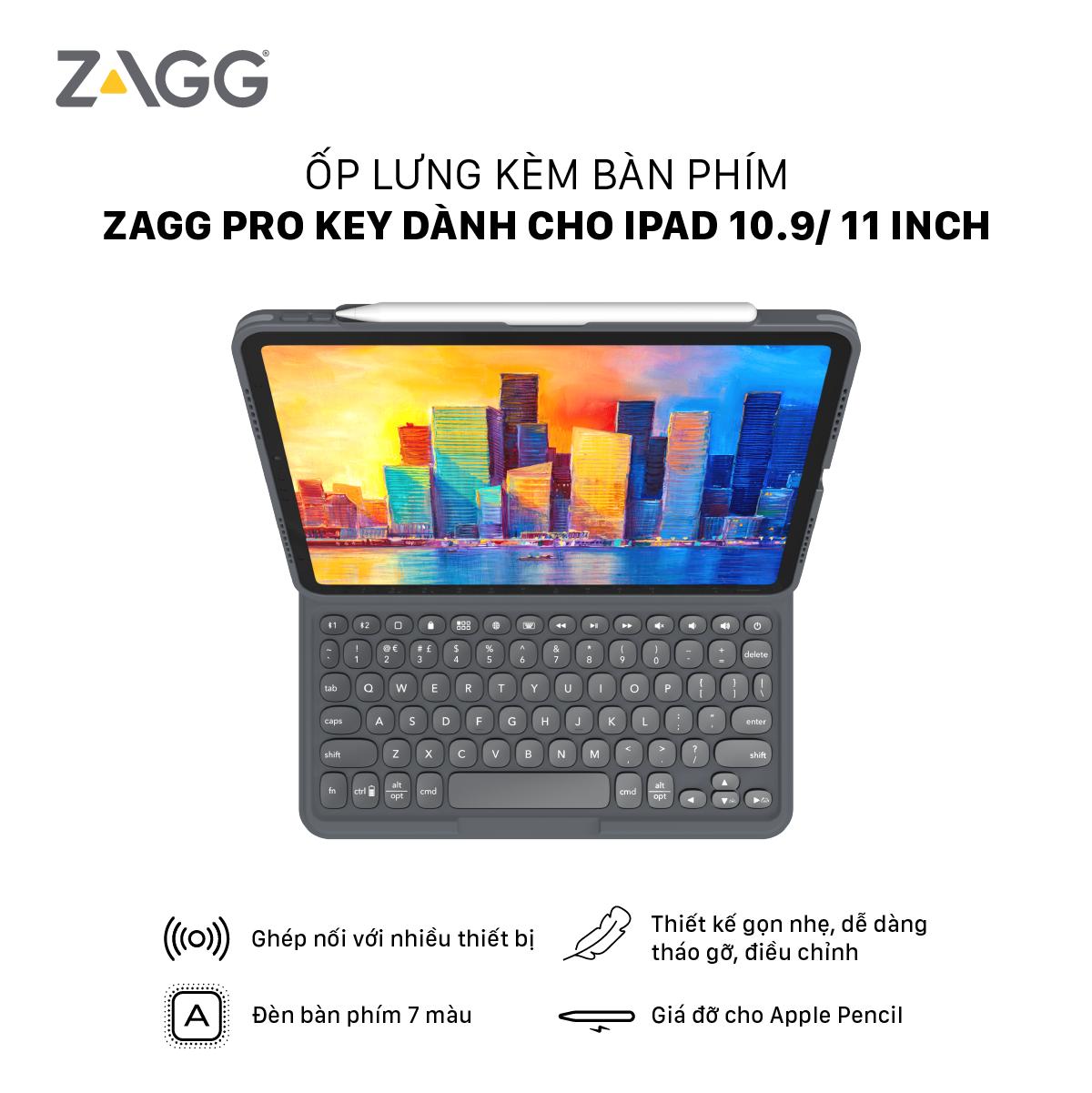 Ốp lưng kèm bàn phím ZAGG Keyboard Pro Keys-Apple-iPad 10.2 và iPad 10.9