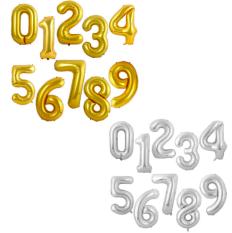 Set bong bóng, bóng bay số tuổi trang trí sinh nhật, màu vàng ánh kim, dày dặn, lớn 70 cm
