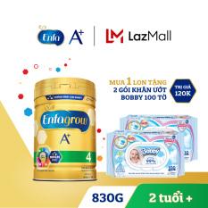 [FREESHIP] Sữa bột Enfagrow A+ 4 cho bé trên 2 tuổi 830g + Tặng 2 gói khăn ướt Bobby 100 tờ – Cam kết HSD còn ít nhất 10 tháng