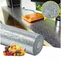 (KHỔ LỚN 3MX60CM) Cuộn decal tráng bạc cao cấp giấy dán bếp tráng nhôm cách nhiệt ô vuông bạc khổ 60cm keo sẵn