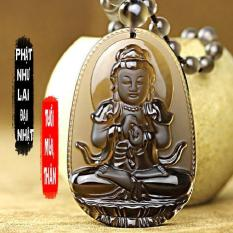 Chuỗi hạt đeo cổ mặt Phật bản mệnh người tuổi Mùi, tuổi Thân – phật Như Lai Đại Nhật S668 ( đá vàng )