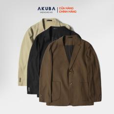 Áo khoác Blazer nam trơn sang trọng AKUBA form regular, mặc thoải mái, nhiều màu 02150
