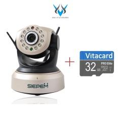 Camera IP Wifi SIEPEM S7001 Plus hỗ trợ FullHD 1080P – độ phân giải 2.0MP (Vàng đồng) + Kèm thẻ Vitacard/NTC U3 32GB – Phụ Kiện 1986