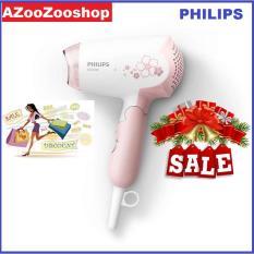 Máy sây tóc mini philips HP8108, 1000W, dễ dàng sấy và tạo kiểu tóc bảo hành 2 năm trên toàn quốc (Hồng trắng)