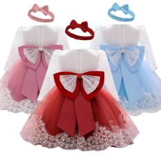 NNJXD Quần áo trẻ em gái 0-2 tuổi Đầm ren công chúa cổ tròn tay dài tay dài có nơ cho Bữa tiệc làm cỏ