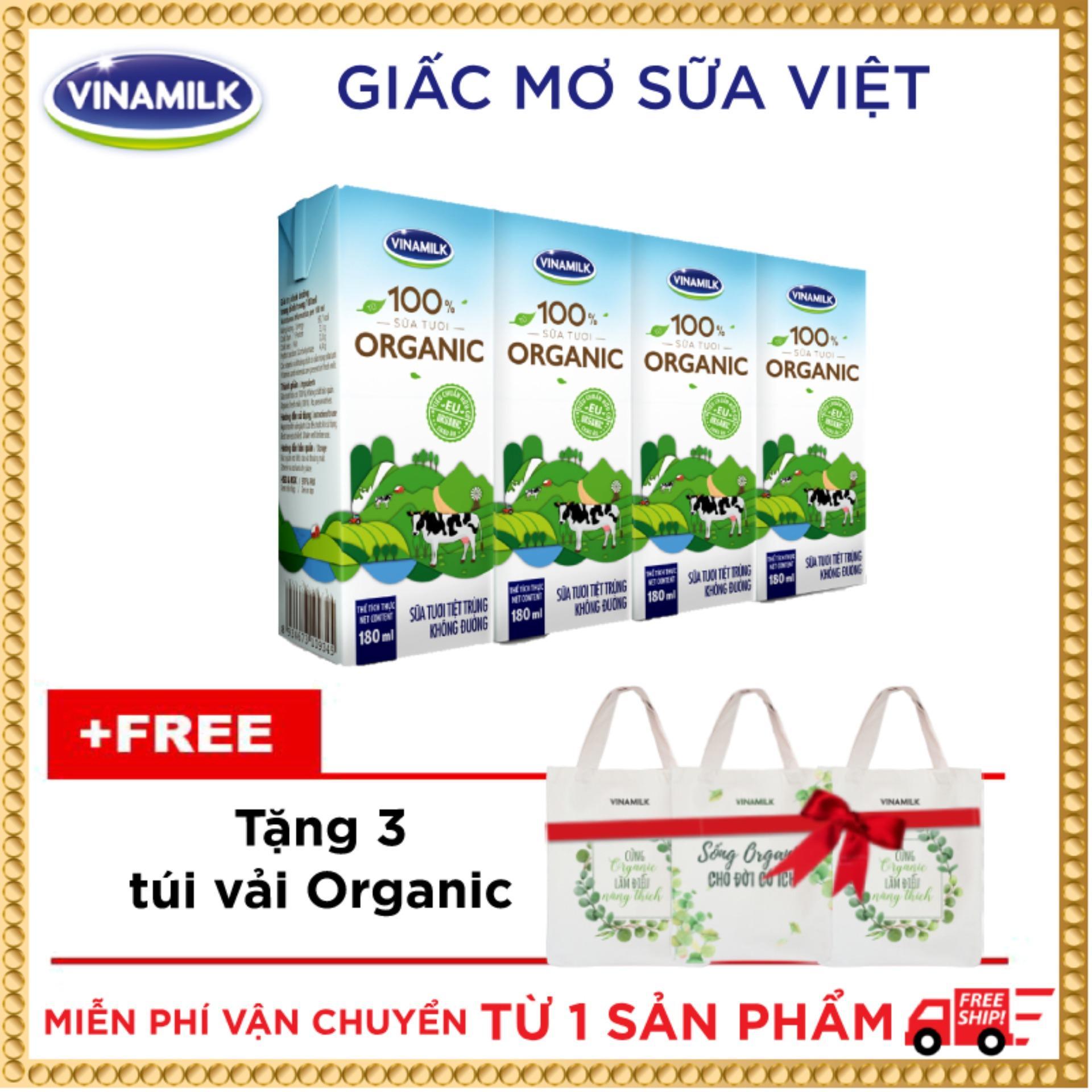 Bộ 36 hộp Sữa tươi Vinamilk 100% Organic 180ml_Tặng 3 túi vải Organic