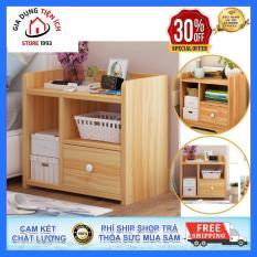 Tủ gỗ đầu giường, tủ gỗ phòng ngủ, 2 tầng 3 ngăn, Kích thước 42x25x40cm