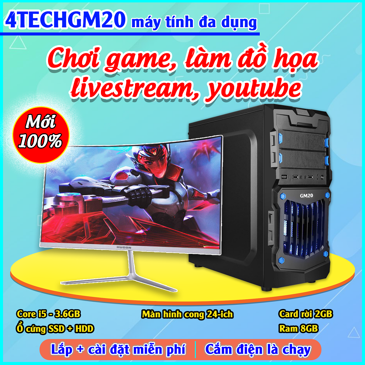 Case PC Building Gaming chơi Game, Live Streamer, thiết kế đồ họa, làm văn phòng, Youtube chuyên nghiệp 4TechGM02 2019, cây máy tính PC cấu hình cao chiến Games online offline hay trên thế giới(Chiến thuật, trí tuệ, nhập vai) 24h không giật, lag.