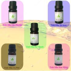 Combo 5 lọ tinh dầu 10 ml :Sả Chanh,Sả Java,Oải Hương,Cà Phê,Hoa Hồng Thảo Mộc Xanh