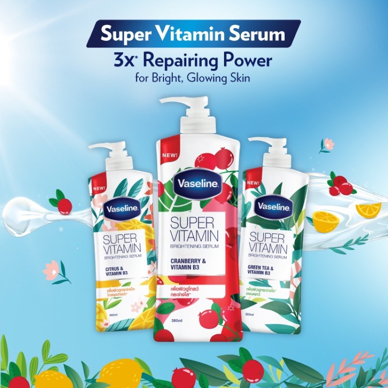 Sữa dưỡng thể trắng và dưỡng ẩm toàn thân Vaseline Super Vitamin Thái Lan (380ml) dưỡng da siêu mượt