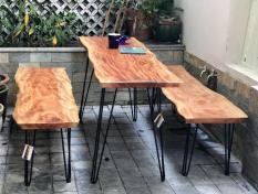 Ghế băng nguyên tấm gỗ xà cừ dài 1m50, cao 44 cm, dày 4cm cho phòng khách, phòng ăn, cà phê, trà, ngoài trời